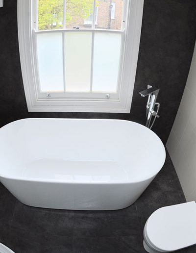 Deep bath view from above